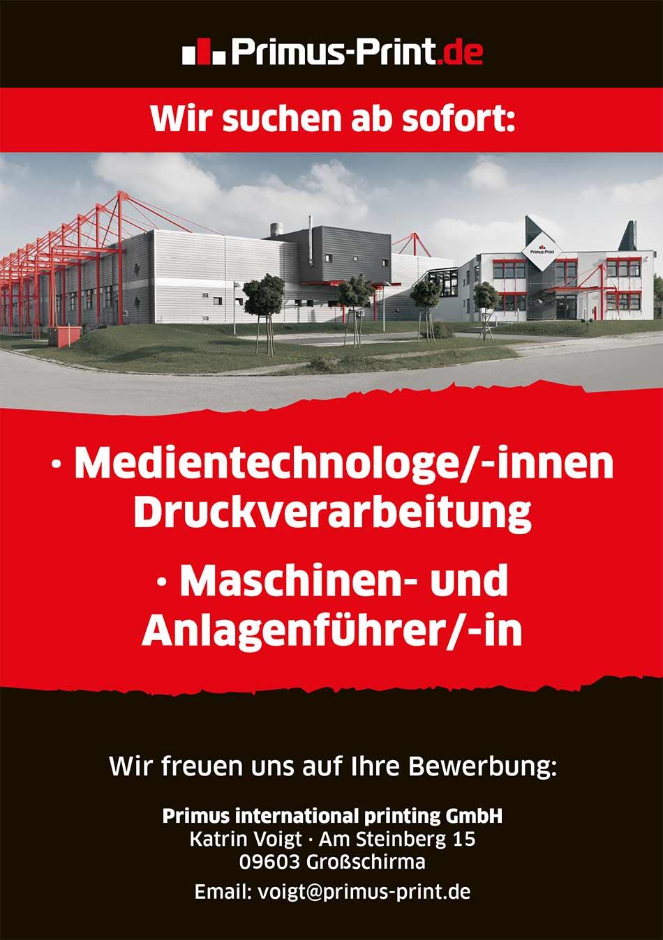 Primus-Print.de Stellenangebot Medientechnologe Maschinenführer Anlagenführer